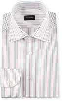 Ermenegildo Zegna Multi-Stripe Woven Dress Shirt, Open White Pattern
