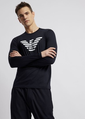 Emporio Armani Pima Cotton Jersey T-Shirt With Long Sleeves And Printed Logo