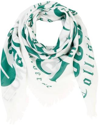 Gucci Logo Print Cotton Blend Modal Scarf