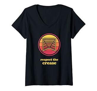 LaCrosse Womens Retro Funny Player - Box & Field Goalie V-Neck T-Shirt