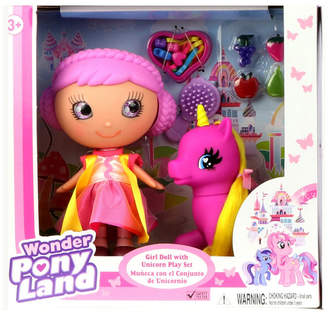 Wonder Pony Land Girl Doll With Unicorn And Hairplay Accessories