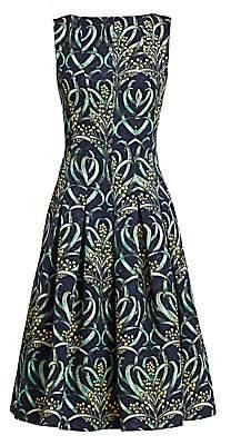 Oscar de la Renta Women's Mimosa Stems Sleeveless A-Line Dress