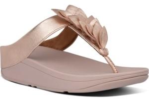 FitFlop Women's Fino Leaf Metallic Leather Toe-Thongs Sandal Women's Shoes