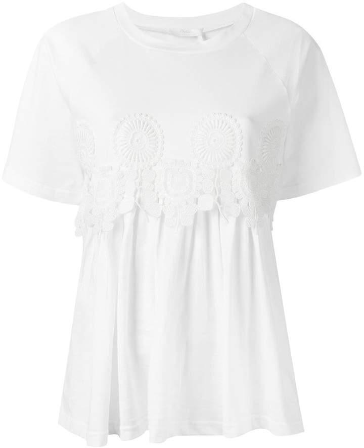 Chloé guipure trim T-shirt