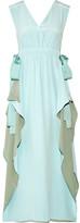Fendi Grosgrain-trimmed Silk Crepe De Chine Midi Dress - Sky blue
