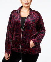 Karen Scott Plus Size Feather-Print Velour Jacket, Only at Macy's