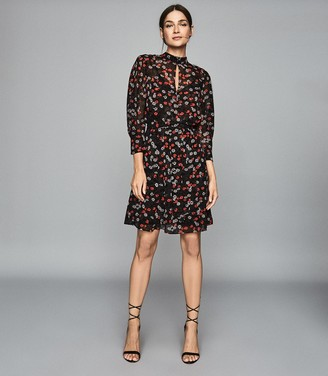 Reiss Peony - Floral Printed Dress in Red/ Black