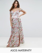 Asos Rose Floral Cold Shoulder Satin Maxi Dress
