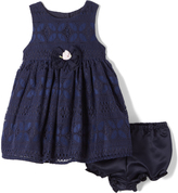 Laura Ashley Blue Crochet A-Line Dress - Infant Toddler & Girls