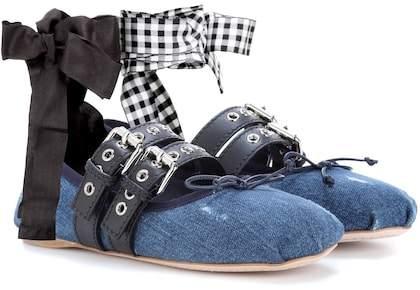 Miu Miu Buckle-embellished denim ballerinas