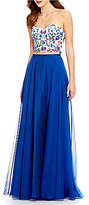 Ellie Wilde Strapless Embroidered Top Two-Piece Long Dress