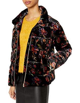 For Love and Liberty Women's Printed Velvet Puffer Jacket