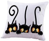 Cotton Linen Square Decorative Throw Pillow Case Personalized Cushion Cover Halloween Gifts Ghost Bats Pumpkin and Owls Trick or Treat By WuyiMC(A-P) (B)