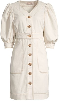 Tory Burch Puff-Sleeve Button Dress
