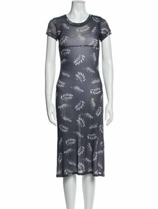 HVN Floral Print Midi Length Dress Grey