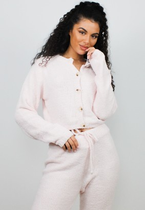 Missguided Pink Co Ord Soft Touch Cropped Cardigan