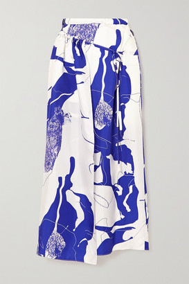 CHRISTOPHER ESBER Printed Silk-twill Wrap Skirt - Blue
