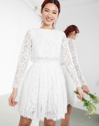 Asos Edition EDITION crop top lace mini wedding dress-White