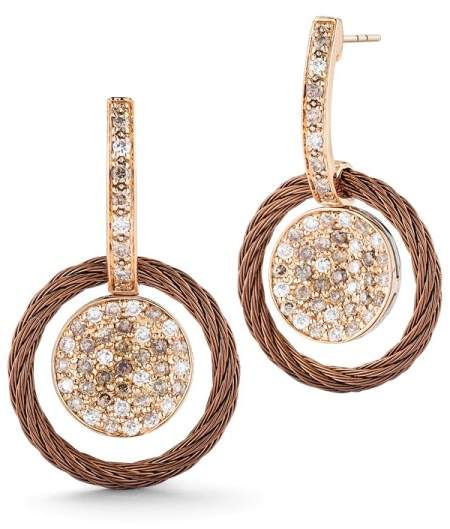 Alor 18K Petra Gold Bronze Cable and Stainless Steel 0.27ct White Diamond and 0.53ct Colored Diamond Earrings