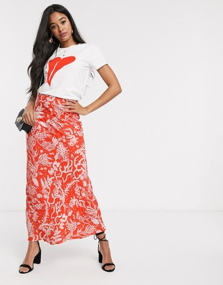 Fabienne Chapot laurie coral print maxi skirt in coral