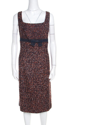 Escada Multicolor Tweed Denim Bow Detail Sleeveless Shift Dress XL
