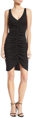 Emporio Armani Deep-V Sleeveless Ruched Short Dress