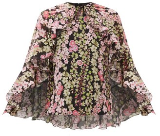 Giambattista Valli Cape-back Floral-print Silk-chiffon Blouse - Womens - Black Print