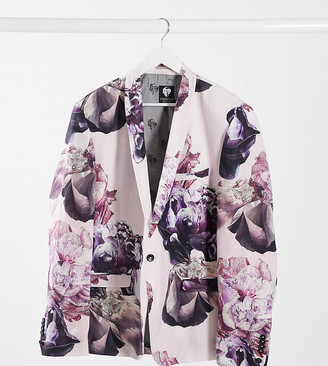 Twisted Tailor PLUS slim linen suit jacket in dusty pink with floral print