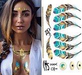 12 Sheets Premium Metallic Flash Tattoos over 150 Design Body Art Henna Sticker Patten Type:Lace ,Feathers,Bird,DIY Letters ,Crown,Deer Lips Temporary Tattoos Kit