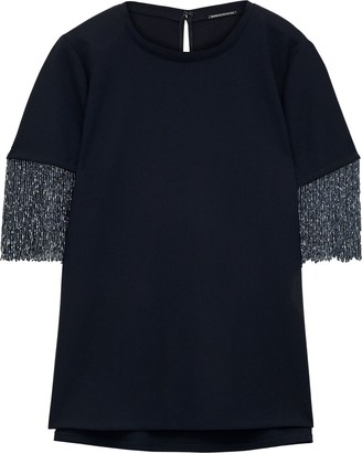 Elie Tahari Ynessa Beaded Fringe-trimmed Cady T-shirt