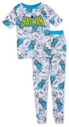 Batman Boys' Exclusive 6-10 Short Sleeve Long Pants 2-Piece Pajama Set