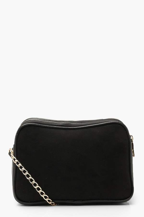boohoo Suedette Dual Compartment Cross Body Bag