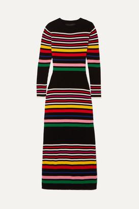 Paper London Striped Ribbed Wool Midi Dress - Black