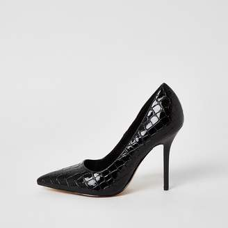 River Island Black patent textured court shoes