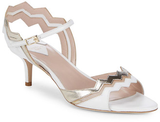 Aperlaï Two-Tone Metallic Leather Sandal