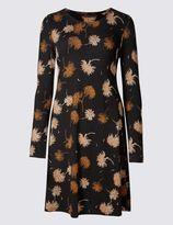 Marks and Spencer Chrysanthemum Print Long Sleeve Swing Dress