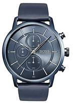 Hugo Boss Bauhaus-inspired watch with blue leather strap