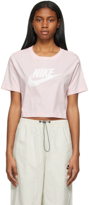 Nike Pink Essential Icon Futura Cropped T-Shirt