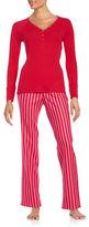Betsey Johnson Long-Sleeve Henley Shirt and Flannel Printed Pants Pajama Set