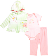 Buster Brown Candy Pink & Patina Green Stripe Butterfly Hoodie Set - Infant