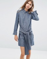 Asos Denim Tie Front Shirt Dress with Button Back