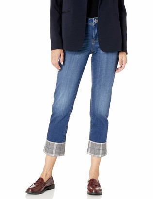 Jag Jeans Women's Carter Girlfriend Jean with Plaid Cuff
