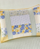 Martha Stewart Collection Collection Cotton Blue & Yellow Patchwork Posey Standard Sham