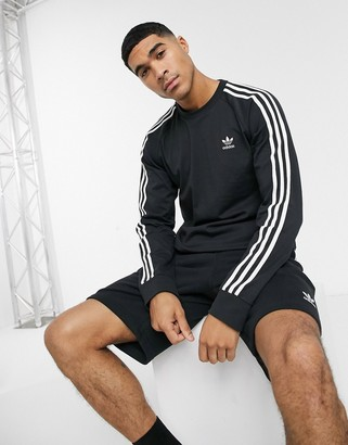 adidas 3-Stripe long sleeve t-shirt in black