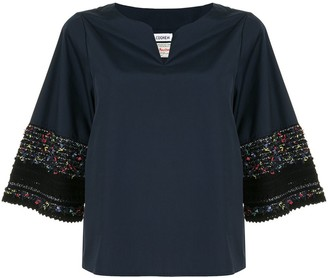 Coohem Contrasting Embroidered Detailed Blouse