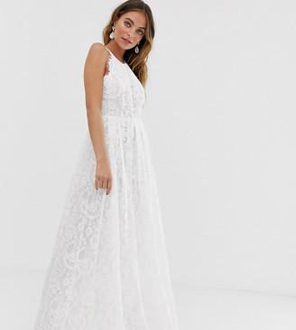 Asos Edition EDITION Petite lace halter neck maxi wedding dress-White