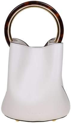Marni Handbag Pannier In Leather White Color Circular Handle In Resin And Metal