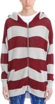 Laneus Red Grey Stripes Lurex Sweatshirt
