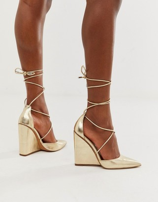 ASOS DESIGN Porter high heeled wedges in pale gold