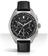 Bulova Moon black leather strap with free nato strap mens watch